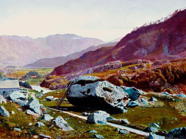 'Bowder Stone, Borrowdale'. Atkinson Grimshaw. Image © Tate, London 2014.