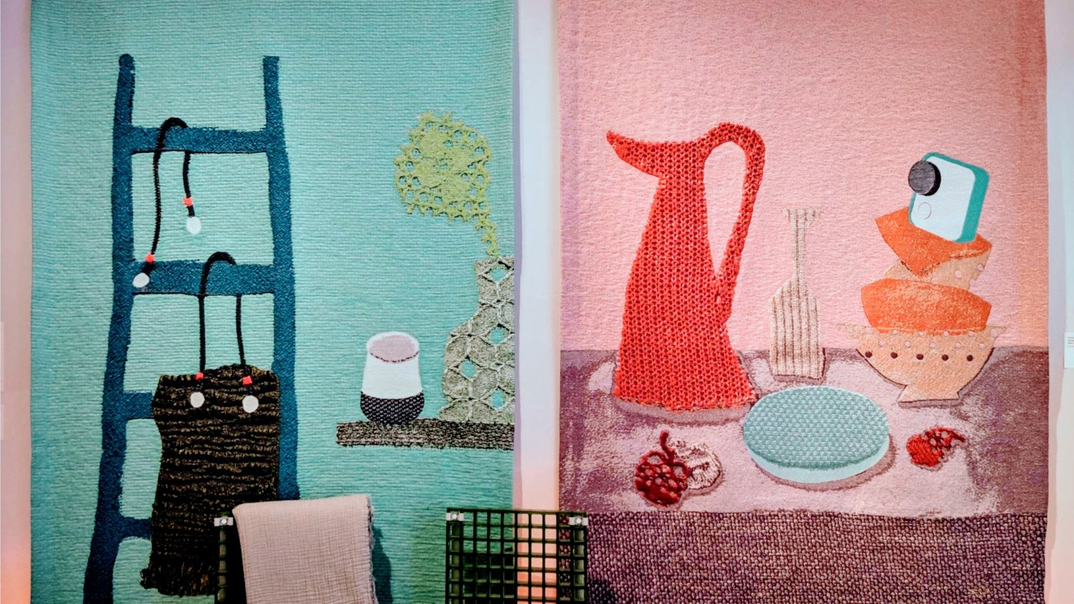 Woven wallhangings depicting still-life scenes of typical household objects, including Google Home devices