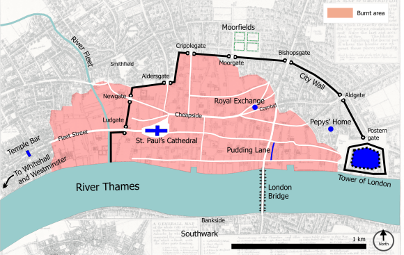 Map showing the extent of the Great Fire of London