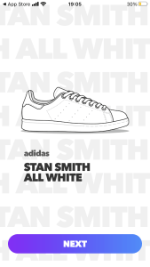 Line drawing of Adidas Stan Smith shoe in the Aglet app