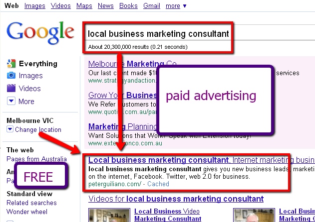 small business marketing consultant in position one, first page of Google