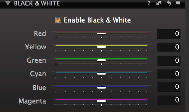 Capture One Express Black & White Channel Mixer