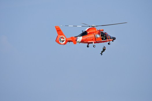 The Coast Guard demonstrating rescue techniques.