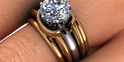 18k Gold Double Band Custom Engagement Ring
