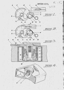 """Drawings from Finish patent № 19142, entitled """"Filmframmatningsanordning för automatisk minskning av frammatningsrörelsens storlek i överensstämmelse med ökningen i filmupplindningsrullens diameter""""."""