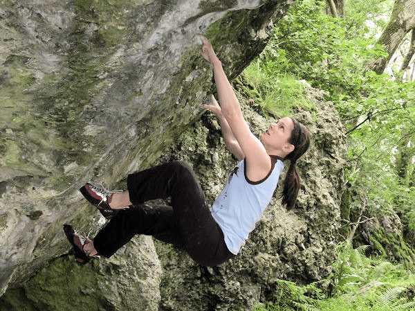 Singular Determination (the author's wife climbing Fagin (V6) on the Clogwyn Y Bustach boulders in Nant Gwynant, North Wales)