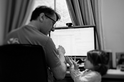 The author, working from home together with his Executive Assistant