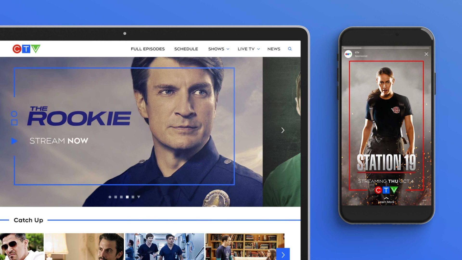 The CTV website & a mobile device shown side-by-side. Both feature a single coloured line that frames the keyart, helping to identify it as CTV content.
