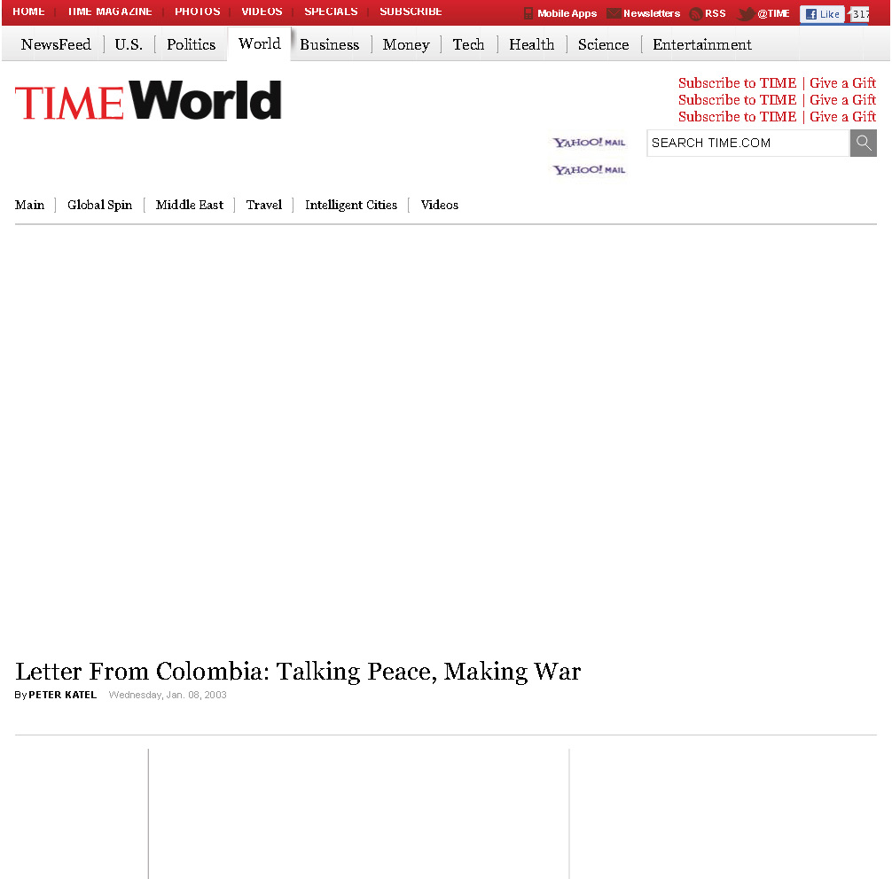 Peter Katel In Colombia – TIME Magazine (2003)
