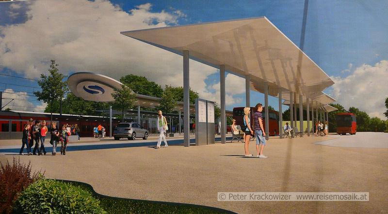 Modell des neuen Busterminals in Neumarkt am Wallersee (derzeit Parkplatz), Quelle ÖBB Infrastruktur, Plakat am Infoabend