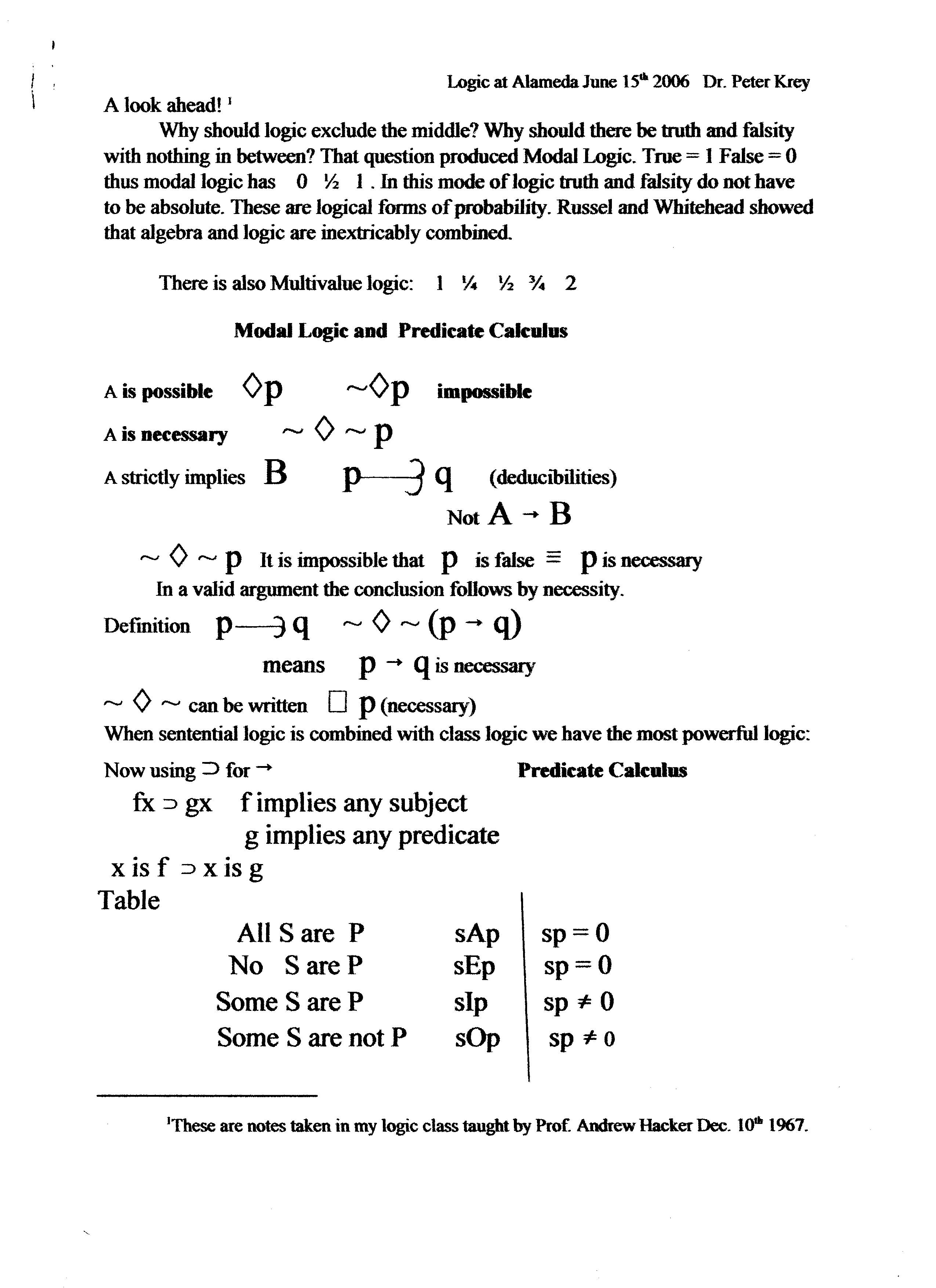 Modal Logic And Predicate Calculus