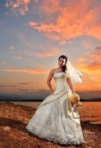Wedding photographer London bride on sunset