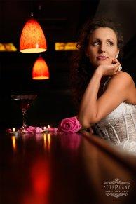 Wedding photographer London bride on the bar