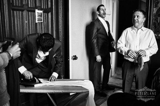 Documentary wedding photographer London St pancras hotel men preps