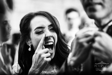 jewish wedding photographer London bride loughing