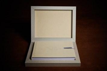 custom luxury wedding album in gray and creme colours