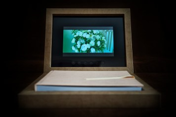 custom luxury wedding album with video display in pink and brown theme
