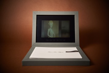 custom luxury wedding album with video display in silver and white