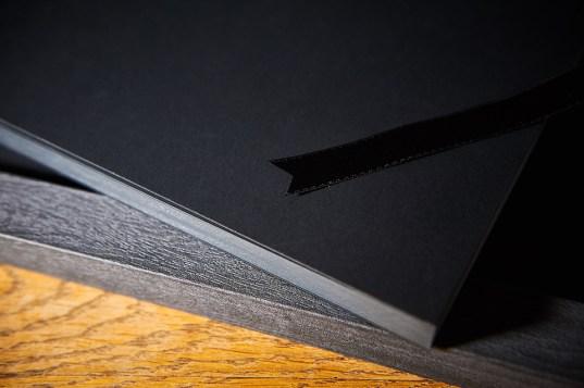 luxury wedding album in black and gray