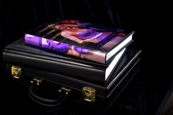 luxury wedding album in suitcase