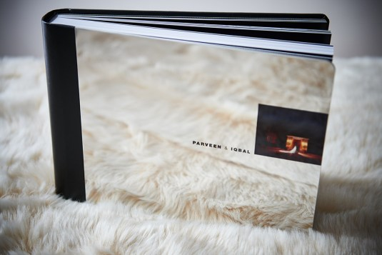 luxury wedding album in shiny silver