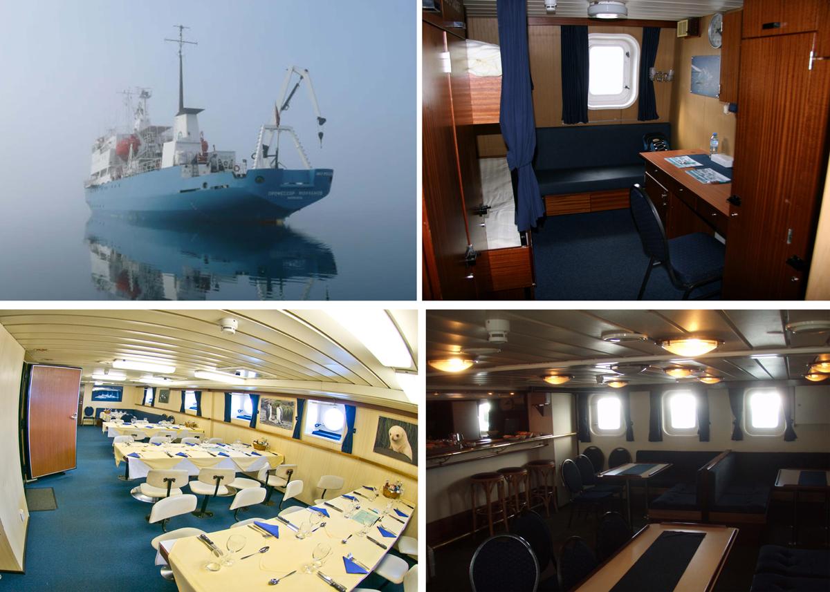 Fartyget, hytterna, matsalen och baren