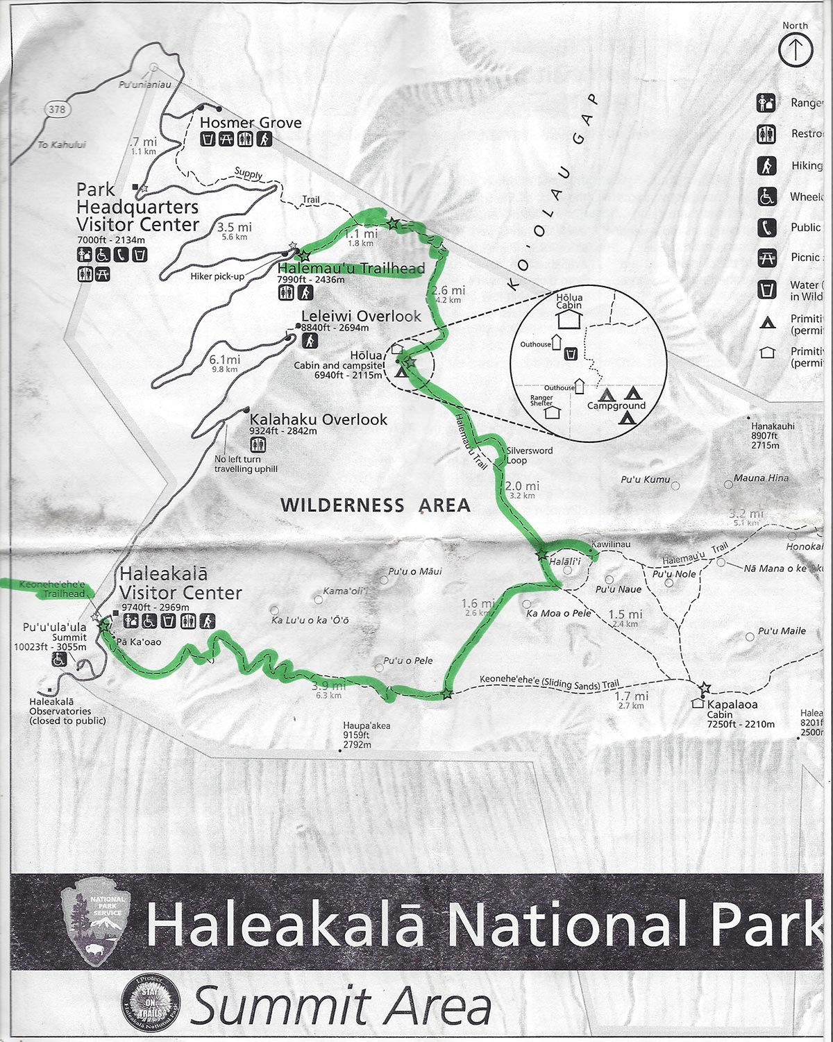 Our trail map for 11-mile hike across Haleakala volcano.