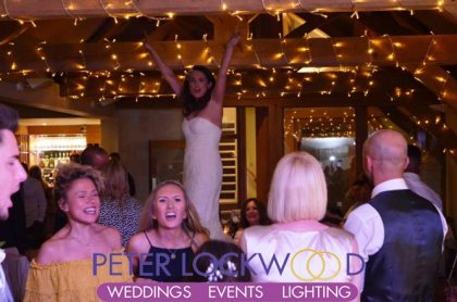 bride dancing on the table