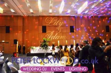 large wedding monogram in the hilton manchester