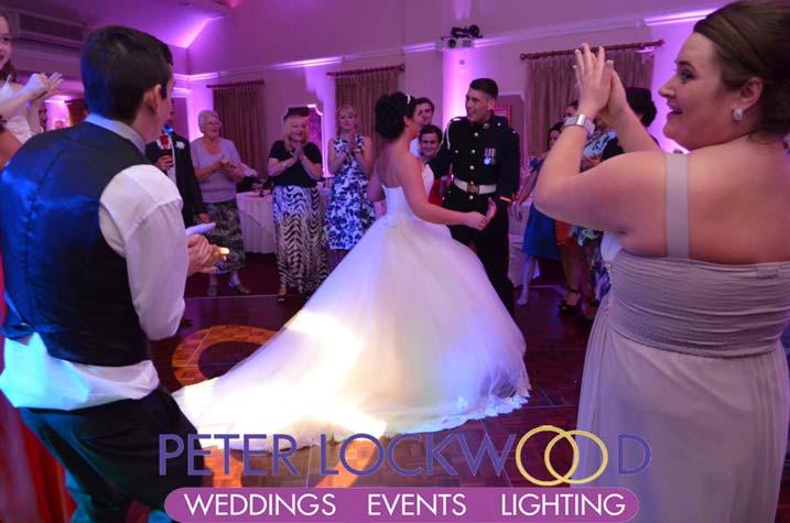 pink wedding uplighting