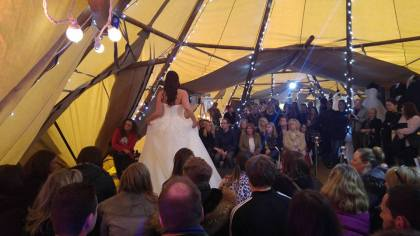 bridal catwalk at eaves hall Wedding Fairs