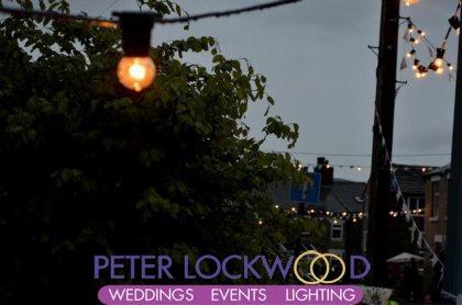 festoon lighting in Heyrod for Whit Friday Brass Band Contest