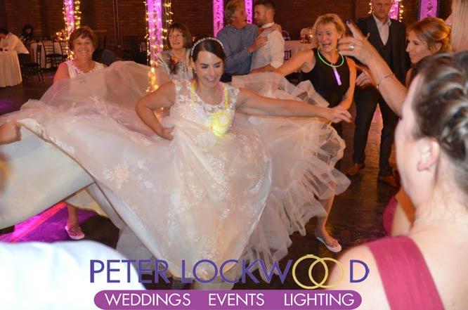 happy bride at victoria warehouse
