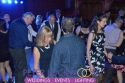 Wedding guests dancing the night away in manchester town hall