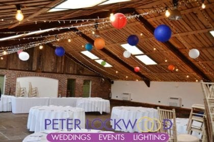wedding barn fairy lights