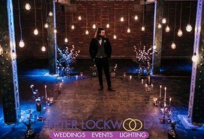 industrial edison lighting wedding aisle in manchester