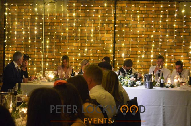 victoria warehouse wedding lighting