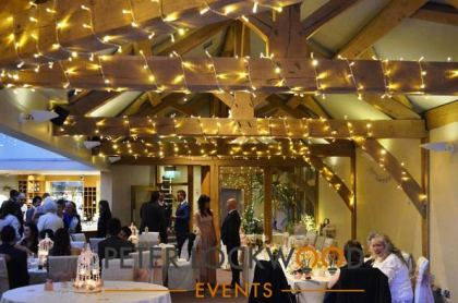 fairy lights on the oak beams
