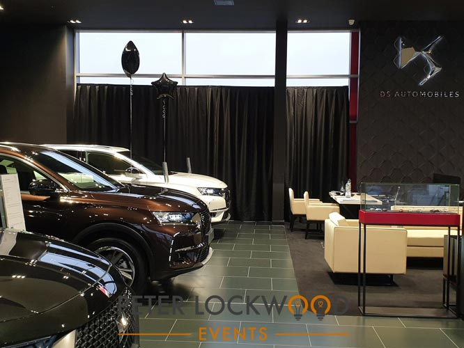 Car Showroom Black Drapes
