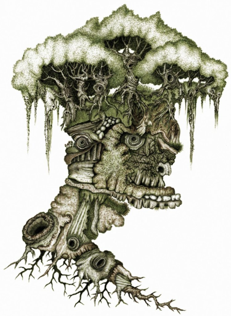 A head composed of organic matter, influenced by Giuseppe Arcimboldo.