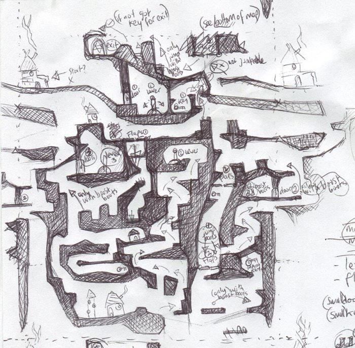 Biro sketched level design by Peter McClory