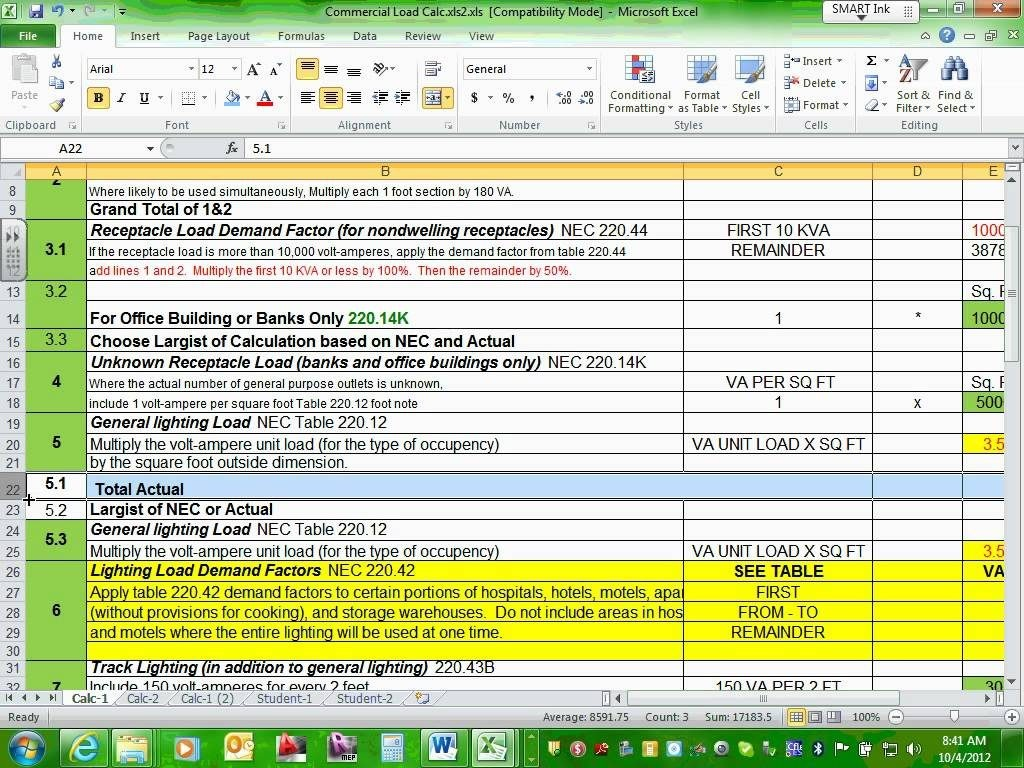 Electrical Engineering Excel Spreadsheets And Residential