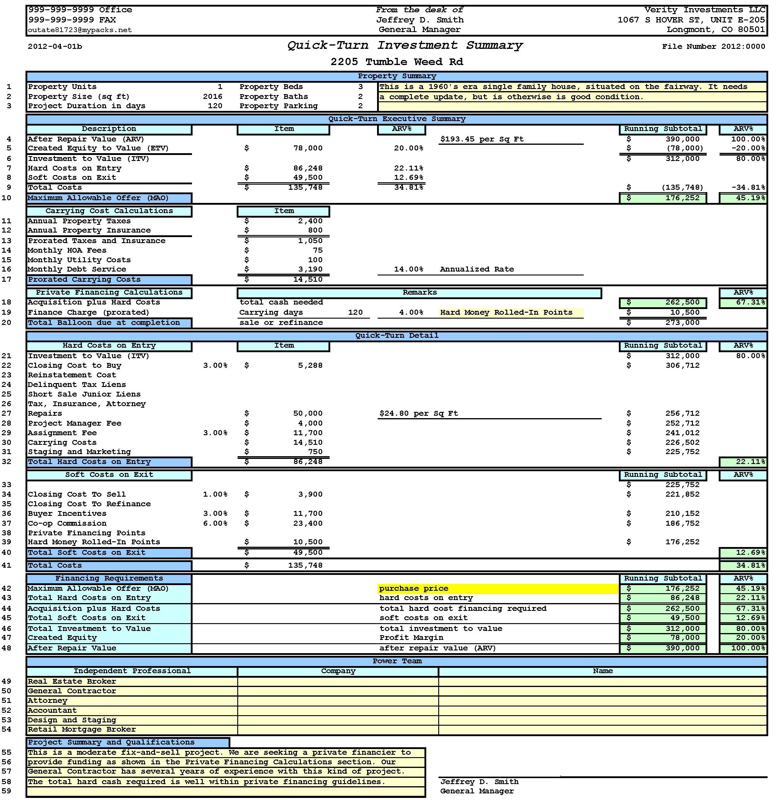 Cash Flowysis Worksheet For Rental Property Document