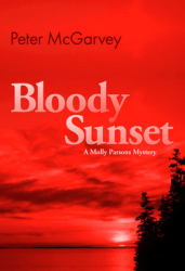 Bloody Sunset Mystery Novel Book Cover