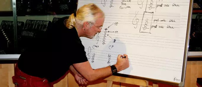 Peter M. Haas erklärt Jazzharmonik beim Akkordeon-Workshop in Hamburg