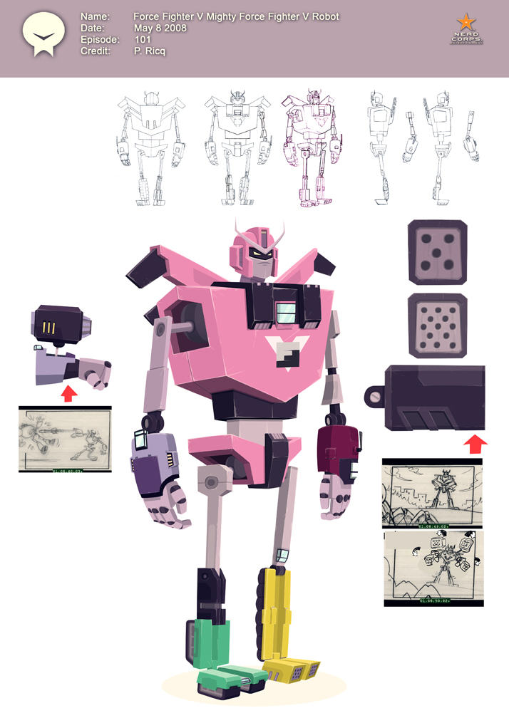 Force Fighter V Robot - I can't find the designs of the vehicles before transformation but I designed them so that every transformation could be animated and function. When I saw the boards for the episode, they got rid of the transformation sequence with a Tornado. I then storyboarded it and showed the board artist how it could be done. The Storyboard Supervisor (Krusty Rusty) Flipped out and has been calling me names since. In the end, they did it the way it was intended. You can watch the LOSE force fighter episode on the internet. Krusty Rusty is still bitter and his contract wasn't renewed for the second season.
