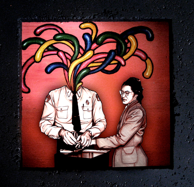 Hippo - 2008 - Ink on Illustration Board / Acrylic paint on wood
