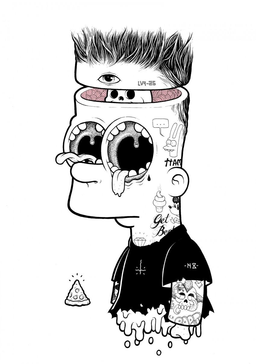 Bart- ink on illustration board