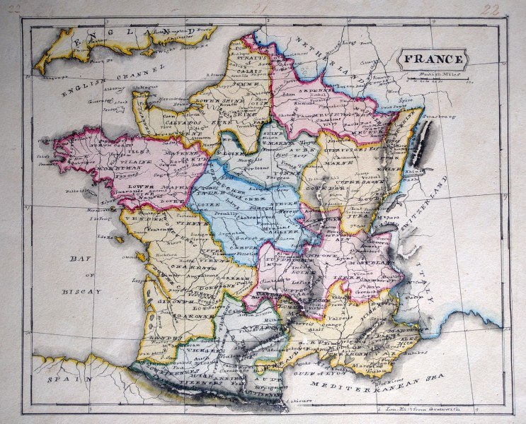 A Striking Schoolgirl Map of France   Peter Roehrich Manuscript schoolgirl map of France from the 1800 s