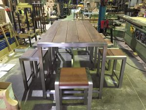 50mm SS Jarrah Hi Table _ Stools